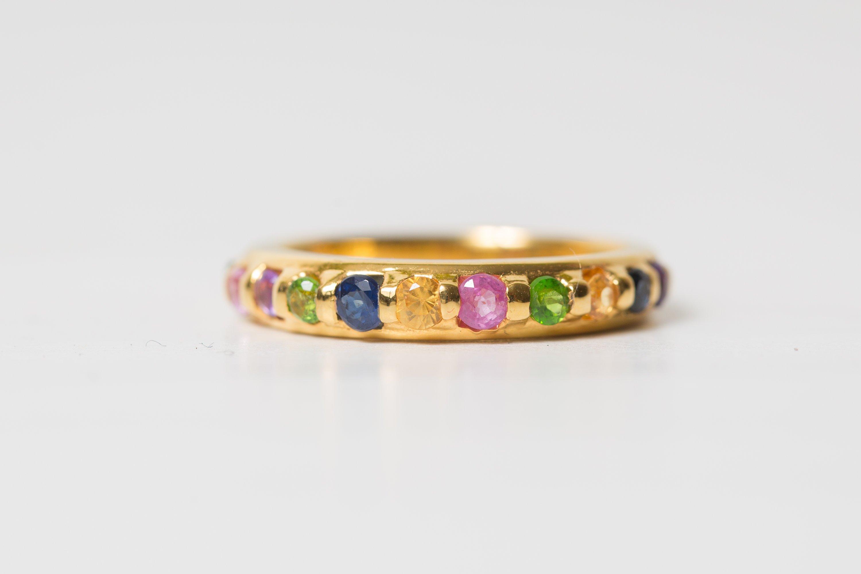18k Gold and Sapphire Rainbow Ring – Torrie Jasuwan Jewerly